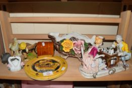 MIXED LOT MODERN CONTINENTAL FIGURE GROUP, VARIOUS ORNAMENTS, FLORAL ENCRUSTED JARDINIERE ETC