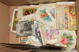 BOX OF VARIOUS SMALL VICTORIAN AND LATER GREETINGS CARDS