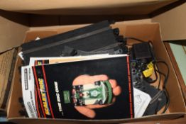 BOX OF SCALEXTRIC TRACK AND ACCESSORIES, CARS ETC