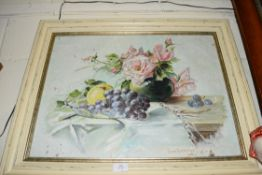 STILL LIFE STUDY OF FLOWERS AND FRUIT, OIL ON CANVAS, SIGNED ISMA LEVERE, SET IN A PAINTED FRAME