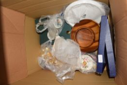 BOX OF TEA WARES, GILT DECORATED SPOONS, ROYAL WORCESTER CAKE STAND, WOODEN BOWLS ETC