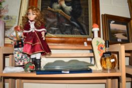 MIXED LOT OF PORCELAIN HEADED DOLLS, A WHISKY SHIP IN A BOTTLE, COLMANS MUSTARD PLACE MATS ETC