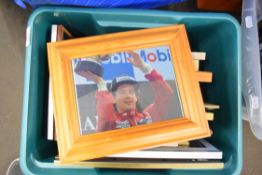 BOX OF MIXED PICTURES TO INCLUDE MOTOR ADVERTISING PRINTS, FORMULA 1 AND MOTORBIKE RACING PHOTOS