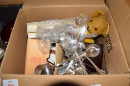 BOX OF MIXED ITEMS TO INCLUDE VINTAGE TEDDY BEAR, VANITY BRUSHES, SINGER SHIRT MARKER, DRESSING