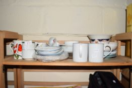 MIXED LOT OF DECORATED MUGS, TEA AND KITCHEN WARES