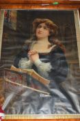 VICTORIAN COLOURED RELIGIOUS PRINT OF A YOUNG LADY PRAYING SET IN A BIRDS EYE MAPLE FRAME
