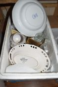TWO BOXES MIXED HOUSEHOLD CHINA WARES, GLASS WARES, MANTEL CLOCKS, DECORATED PLATES ETC