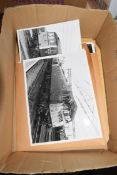 BOX CONTAINING VINTAGE BLACK AND WHITE PHOTOGRAPHS, RAILWAY INTEREST, AND A QTY OF NEGATIVES OF