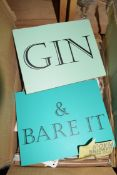 BOX OF WALL PLAQUES 'GIN AND BEAR IT'