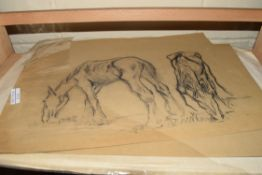 TWO DOUBLE SIDED CHARCOAL SKETCHES, HORSES AND CATTLE, UNFRAMED