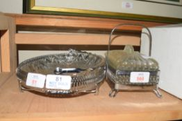 METAL FRAMED HORS D'OEUVRES DISH AND ACCOMPANYING BUTTER DISH