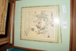 FRAMED SET OF COLOURED PRINTS, 19TH CENTURY COUNTRY HOUSE SCENES, INDISTINCTLY SIGNED, INITIALLED