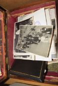 19TH CENTURY ROSEWOOD BOX CONTAINING VARIOUS BLACK AND WHITE PHOTOGRAPHS, ROYALTY AND OTHER