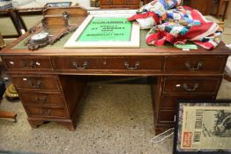 REPRODUCTION MAHOGANY TWIN PEDESTAL OFFICE DESK WITH GREEN LEATHER TOP, 151CM WIDE