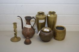 MIXED LOT COMPRISING PAIR OF BRASS VASES, BRASS TWIST CANDLESTICK, BRASS TOBACCO JAR, COPPER