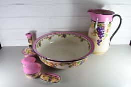 VINTAGE CORINTH WASH BOWL, JUG AND FURTHER DRESSING TABLE ACCESSORIES