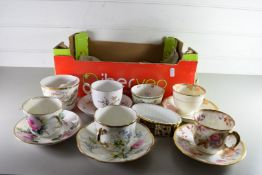 COLLECTION OF 19TH CENTURY AND LATER TEA CUPS AND SAUCERS, A WEDGWOOD OVAL DISH WITH GILT