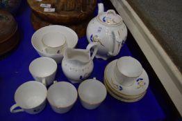 19TH CENTURY ROCKINGHAM STYLE TEA SET WITH GILT DECORATION