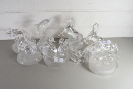 COLLECTION OF CLEAR AND FROSTED GLASS MODELS OF ANIMALS