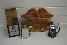 HARLEY DAVIDSON MOTORCYCLES CARVED WOODEN WALL PLAQUE TOGETHER WITH A HARLEY DAVIDSON MUG AND A