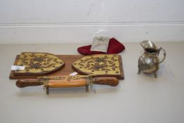 HARDWOOD BOOK RACK WITH BRASS MOUNTS TOGETHER WITH A SMALL CARVING SET AND A HAND WARMER AND