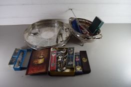 SILVER PLATED GALLERIED TRAY TOGETHER WITH SILVER PLATED DISH, VARIOUS COLLECTORS SPOONS, SILVER