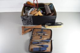 BOX OF VINTAGE GROOMING ITEMS TO INCLUDE CUT-THROAT RAZORS, CASED VANITY SET, BRUSHES, FOLDING