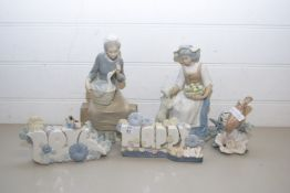 MIXED LOT COMPRISING A LLADRO MODEL OF A BIRD, NAO MODELS MARKED 'HAPPY DAY' AND 'LOVE' AND TWO