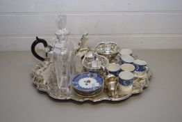 SILVER PLATED TRAY CONTAINING SILVER PLATED TEA SET, CRUET, QTY OF AYNSLEY COFFEE CANS AND SAUCERS