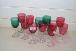 COLLECTION OF 12 VARIOUS CRANBERRY, TURQUOISE AND CLEAR GLASS WINES