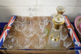 BOX OF MIXED GLASS WARES TO INCLUDE DECANTERS, SUNDAE DISHES, DRINKING GLASSES ETC