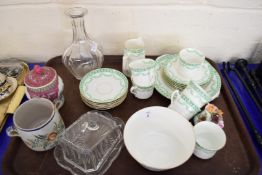 TRAY OF MIXED WARES TO INCLUDE A QUIMPER DOUBLE HANDLED POT, A QUANTITY OF BELL CHINA TEA WARES,