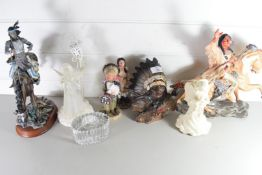 COLLECTION OF COMPOSITION MODELS OF NATIVE AMERICAN FIGURES, A BOHEMIAN GLASS CANDLE HOLDER ETC