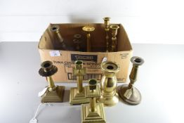 COLLECTION OF MIXED BRASS CANDLESTICKS