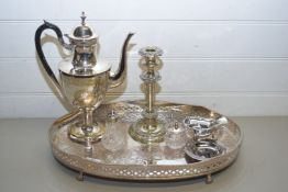SILVER PLATED GALLERIED SERVING TRAY CONTAINING SILVER PLATED COFFEE POT, CANDLESTICKS, SAUCE
