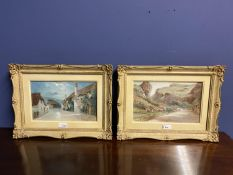 Pair of C19th watercolours, label verso, Cheddar Village and Porlock Village by Moonlight, J Wilson,