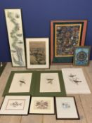 Qty of framed and glazed pictures including the Map of Thames, 5 unframed bird studies and other
