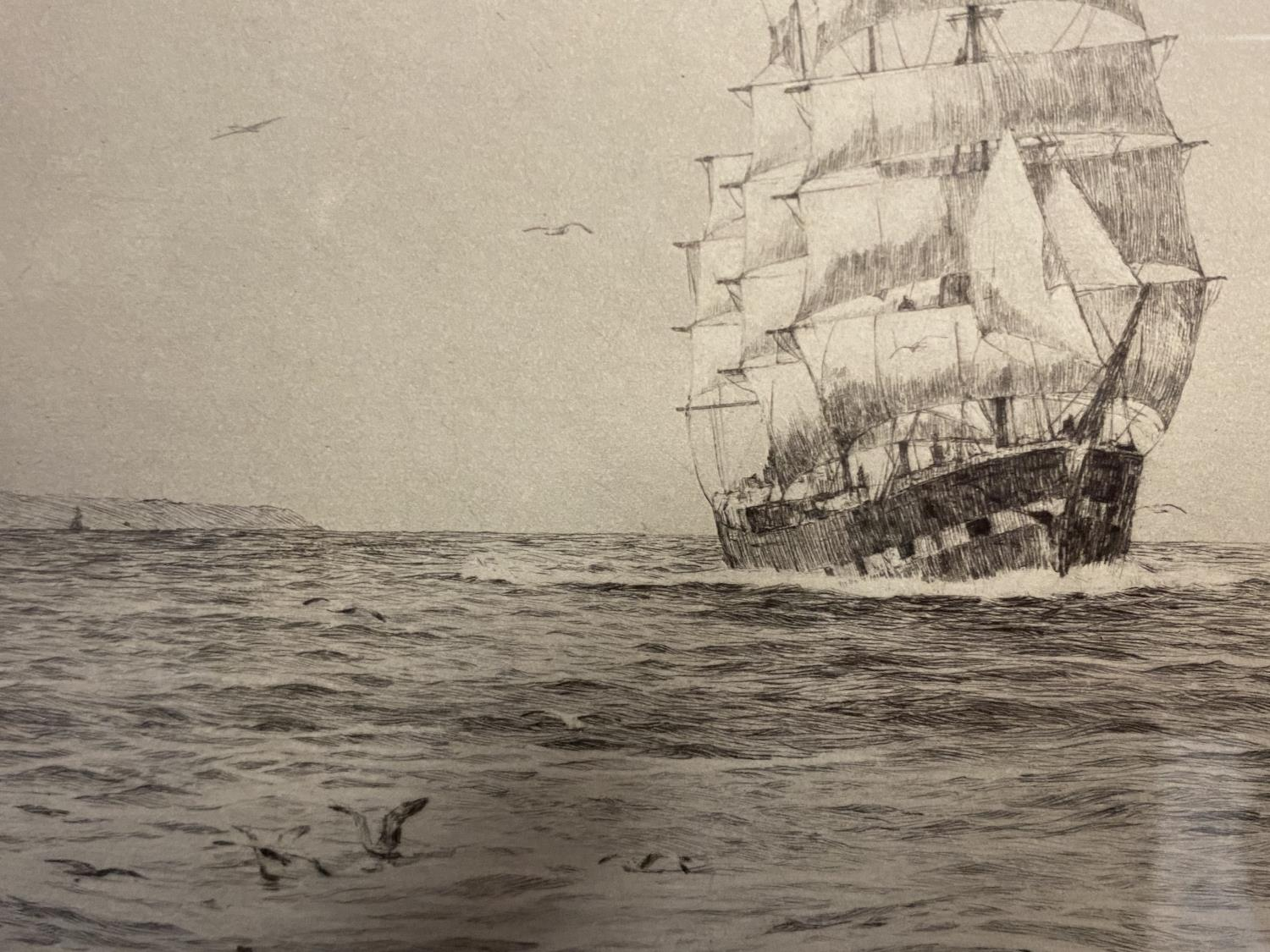 Black and White etching on Paper, Sailing ship fully rigged at sea, 17 x 30cm , signed and titled in - Image 12 of 15