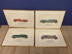 Set of 4 framed and glazed vintage car colour drawings, Bentley, Aston Martin, Mercedes Benz, all