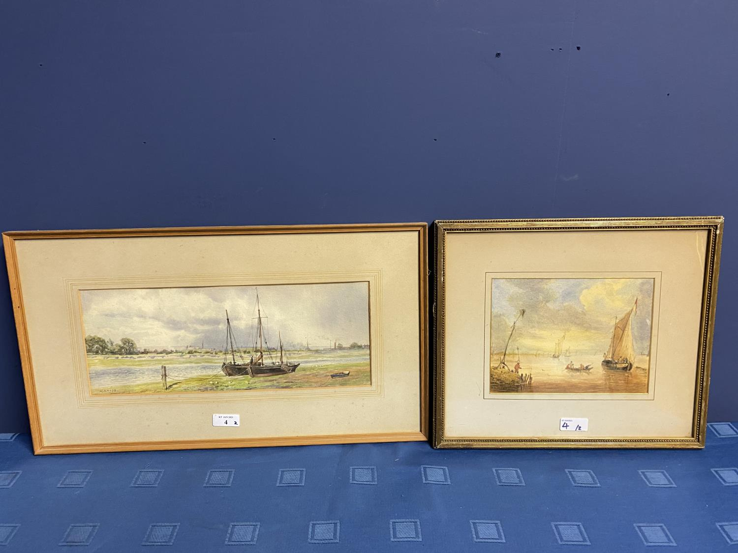 C19th watercolour, two fishing boats moored in an Estuary, signed M Snape, 14 x 37cm (condition, - Image 10 of 10