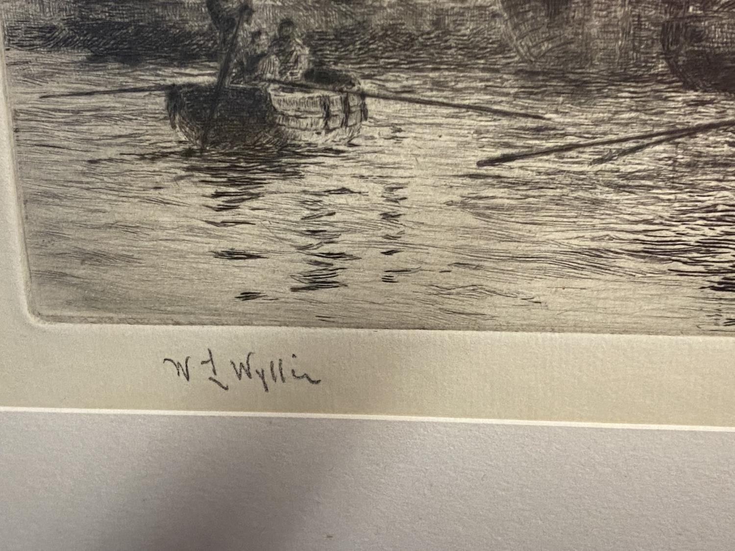 William Wylie, (1851-1931-), etching, Man of War with tugs in harbour, signed in pencil lower left - Image 3 of 12