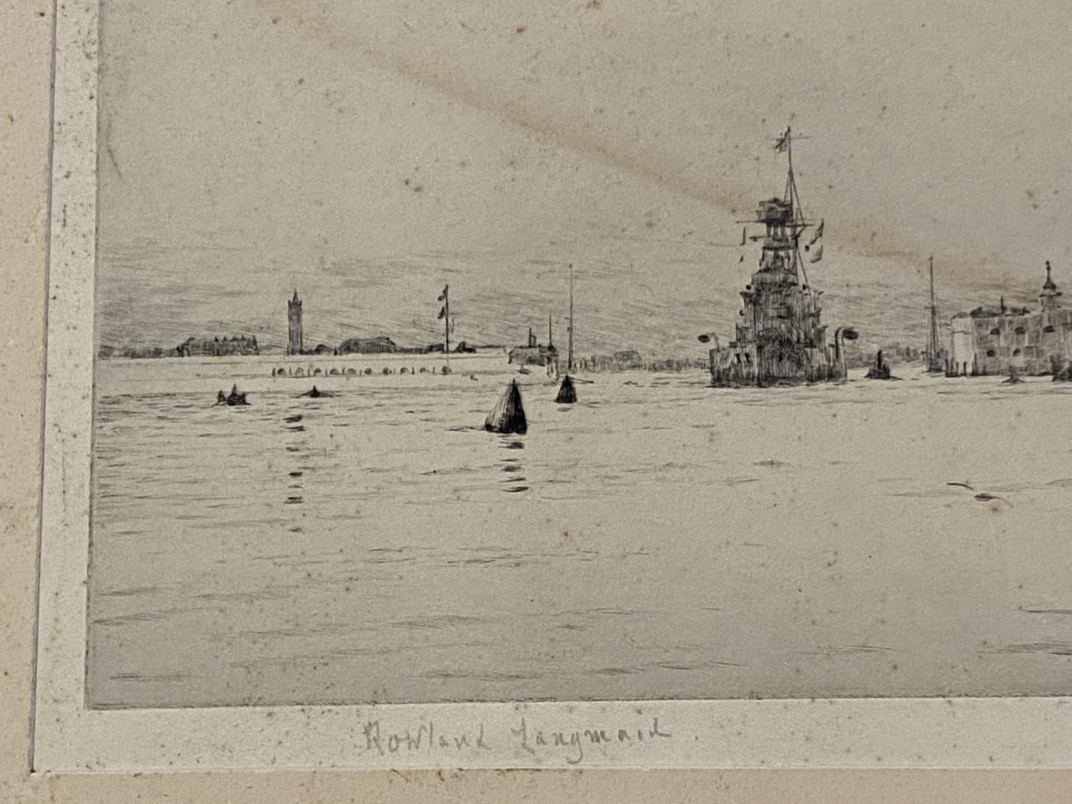 Unframed black and white maritime engraving, signed in pencil on mount, Rowland Langmaid 17 x 35 - Image 2 of 2