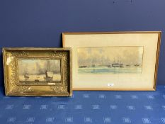 C19th watercolour, sailing ships, initial JE lower right, 16 x 37cm (condition, some tiny foxing