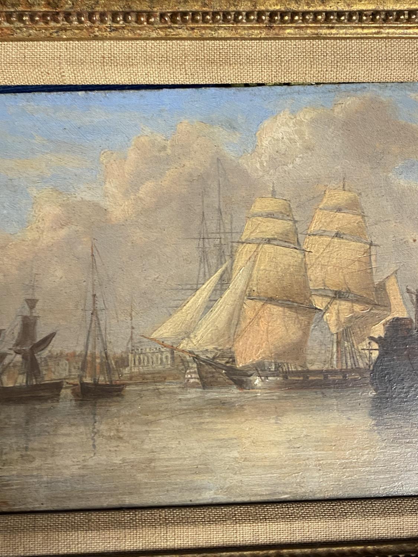 JOHN CHRISTIAN SCHETKY (1778-874) Oil on board, The Odin Hulk and a Man of War, Portsmouth - Image 5 of 19