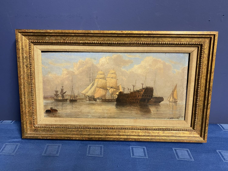 JOHN CHRISTIAN SCHETKY (1778-874) Oil on board, The Odin Hulk and a Man of War, Portsmouth