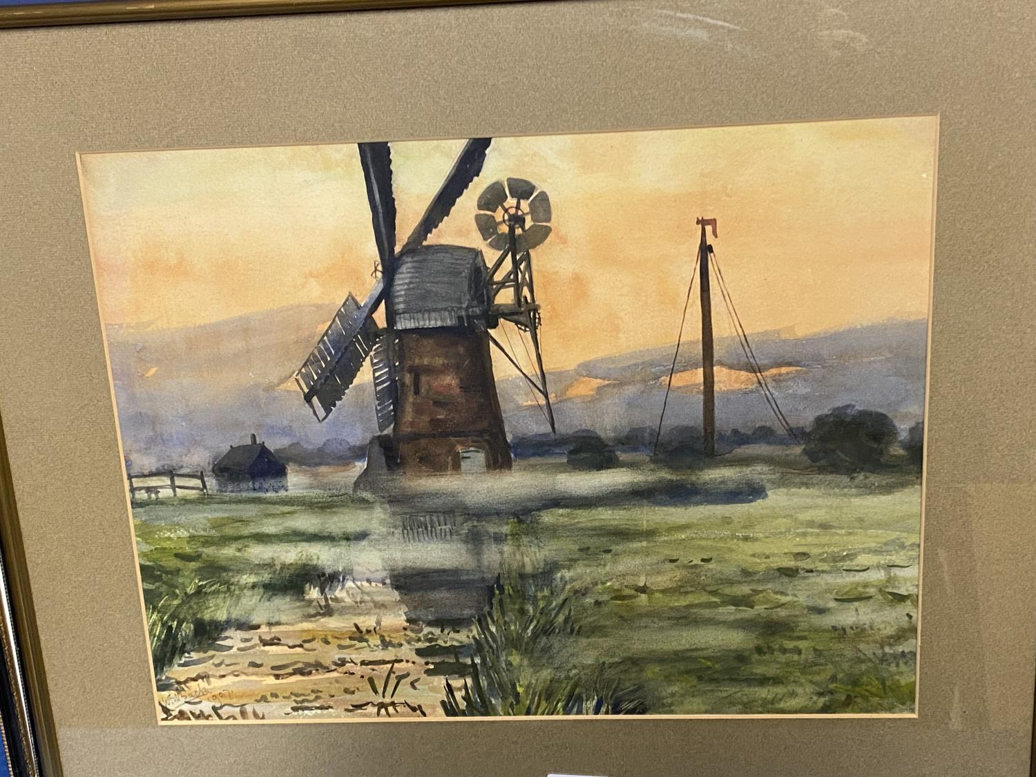 Mixed lot of pictures, to include Windmill scene, W Bach 1907; coloured print cottages; coloured - Image 8 of 13