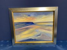 Contemporary oil on canvas, Across the Dunes, signed verso, Jenny Smy 2002, titled Croyde Sunset,