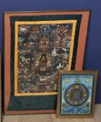 Two C20th Tibetan Thankgas, the larger overall including frame 83 x 62 cm