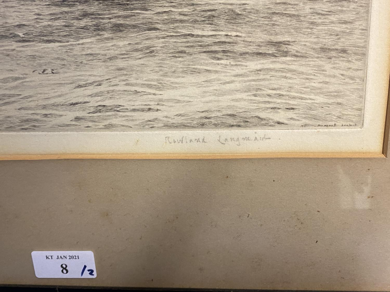 Black and White etching on Paper, Sailing ship fully rigged at sea, 17 x 30cm , signed and titled in - Image 11 of 15