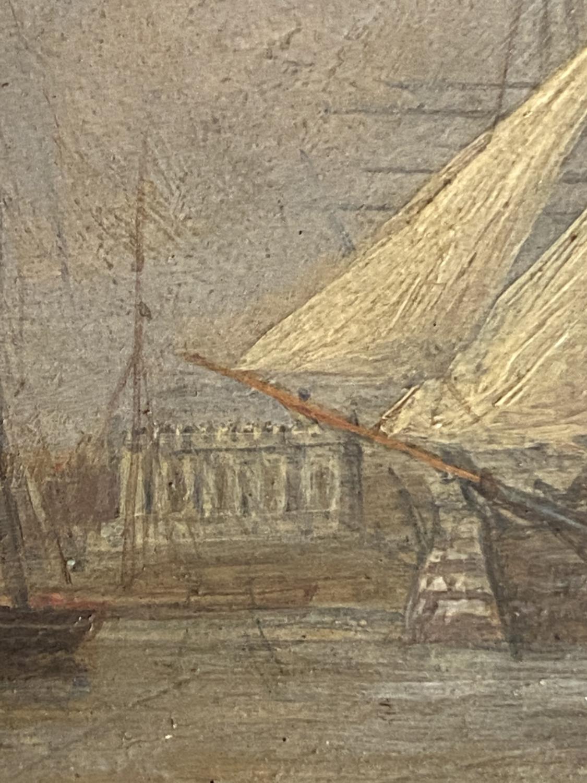 JOHN CHRISTIAN SCHETKY (1778-874) Oil on board, The Odin Hulk and a Man of War, Portsmouth - Image 7 of 19